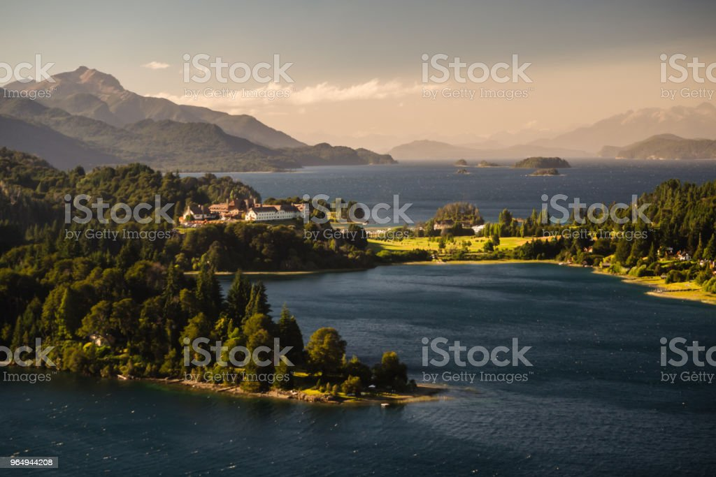 Landscape of the Nahuel Huapi  lake with Hotel Llao Llao close to Bariloche City in Argentina, Patagonia. stock photo