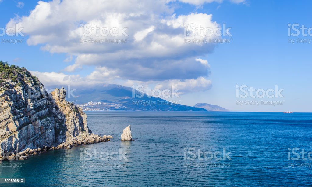 Landscape of the nature of the Black Sea, rock stock photo