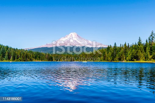 Landscape of the picturesque Trillium Lake surrounded by forest overlooking Mount Hood and the reflection of snowy mountain in the clear water of the lake where people like to rest