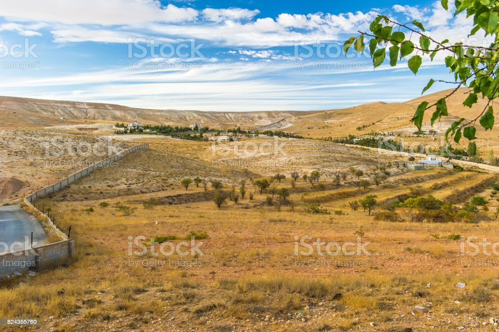 Landscape of the plains of Syria stock photo