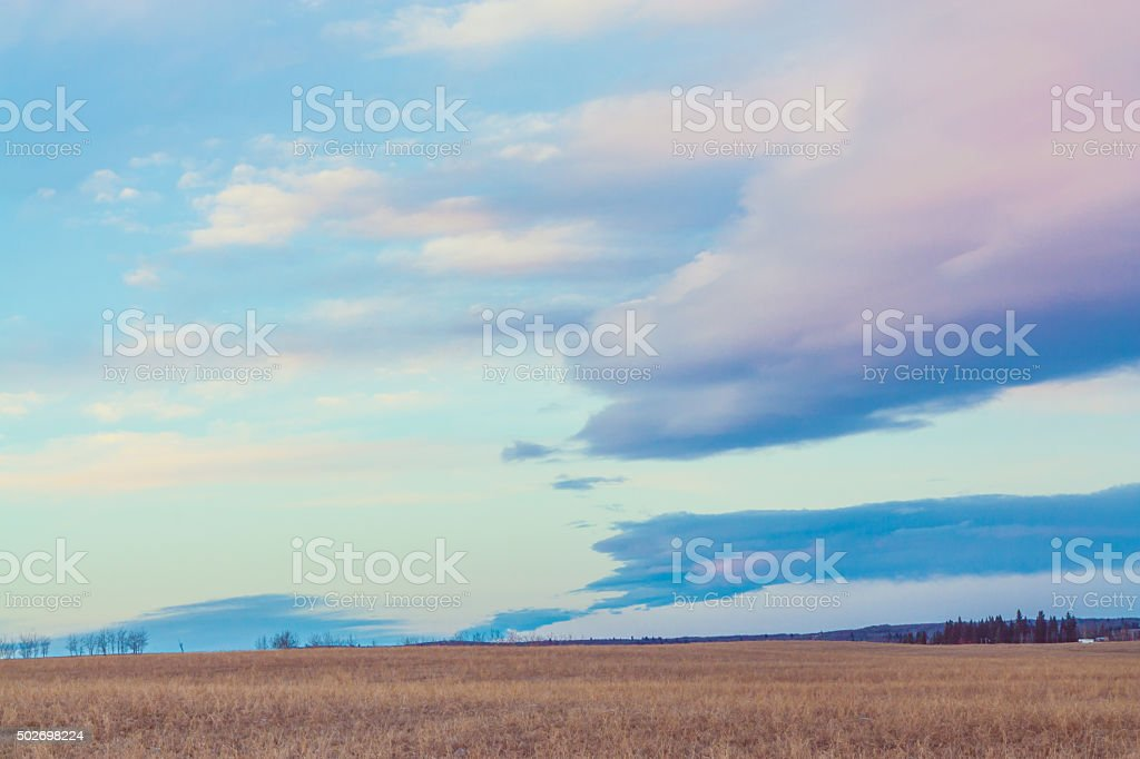 Landscape of the Prairie at Dusk stock photo