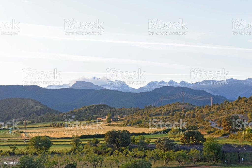Landscape of the Pyrenees from the walls of Ainsa, Huesca province,Spain stock photo