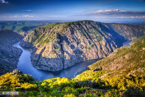 Autumnal landscape of Ribeira Sacra (Sil River Canyons) in Ourense (Galicia) Spain. The river has excavated for centuries on the rocky granite walls to shape the landscape at will natural. Beautiful place inside Galicia in rural mountain