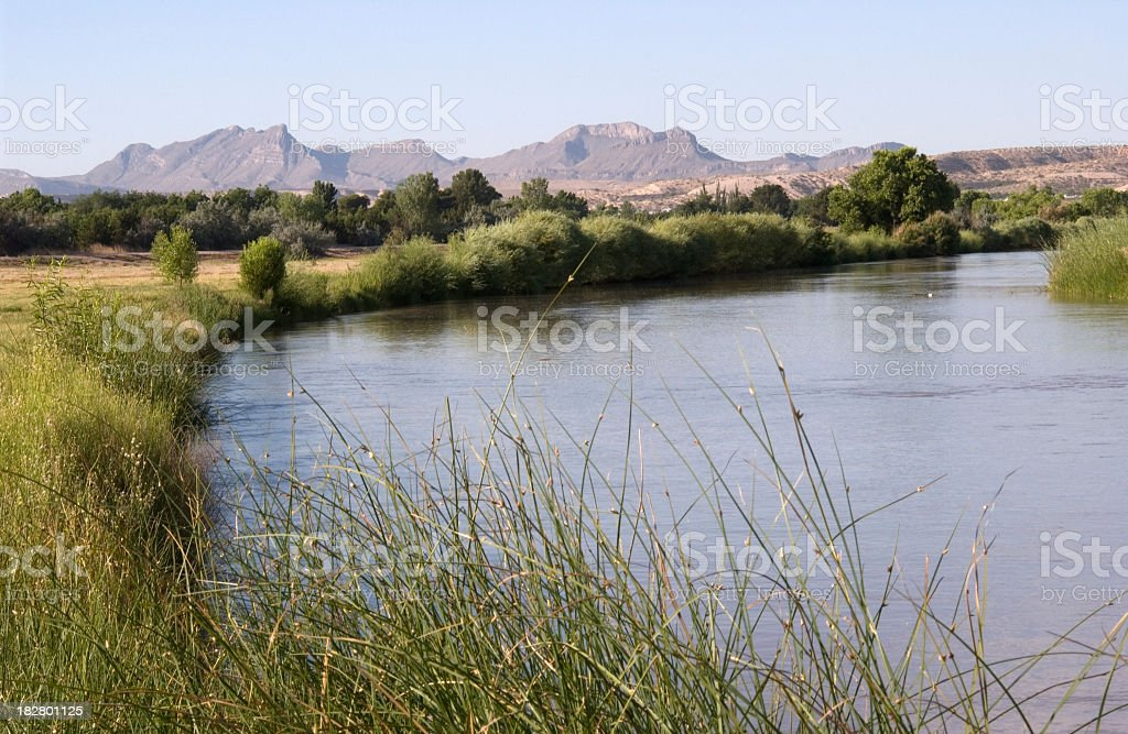 Landscape of the Rio Grande River stock photo
