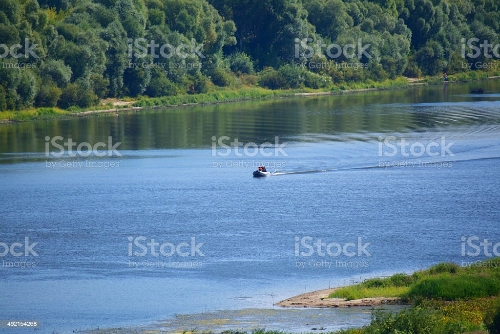 landscape of the river in summer in good weather stock photo