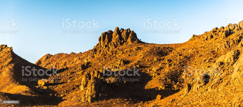 Landscape of the rock formations in Iran stock photo