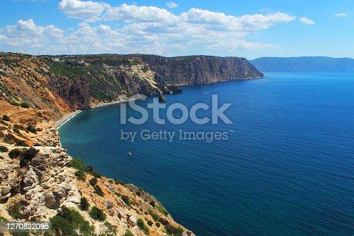 istock Landscape of the rocky sea coast. Cape Fiolent. Black sea. Crimea 1270822095