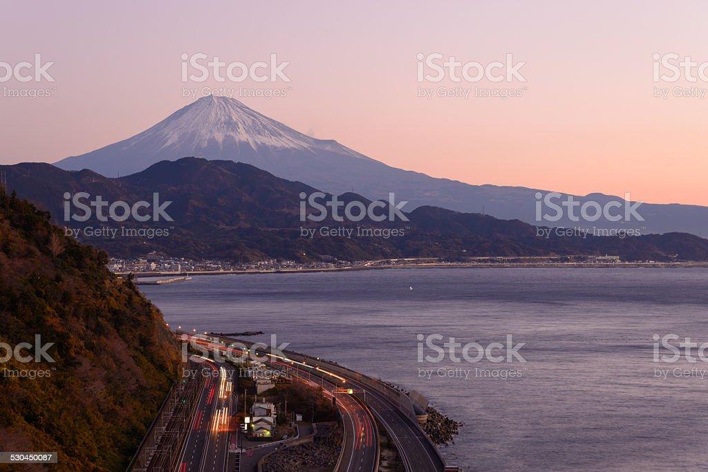 Landscape of the Satta pass at dawn in Shizuoka, Japan stock photo
