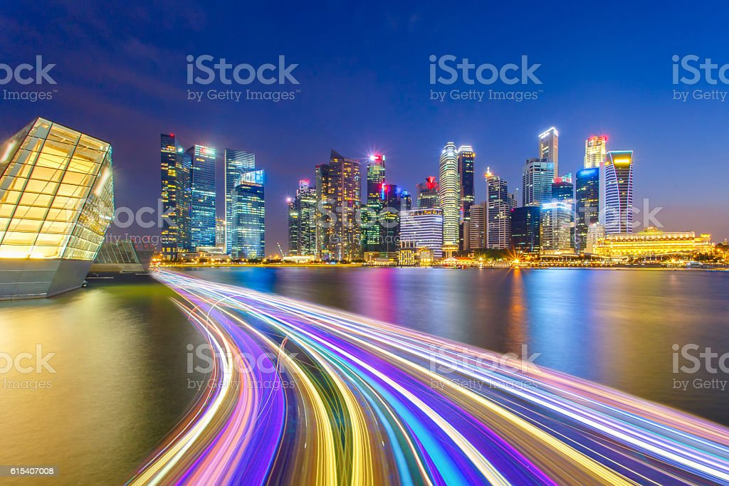 Landscape of the Singapore financial district and business building stock photo