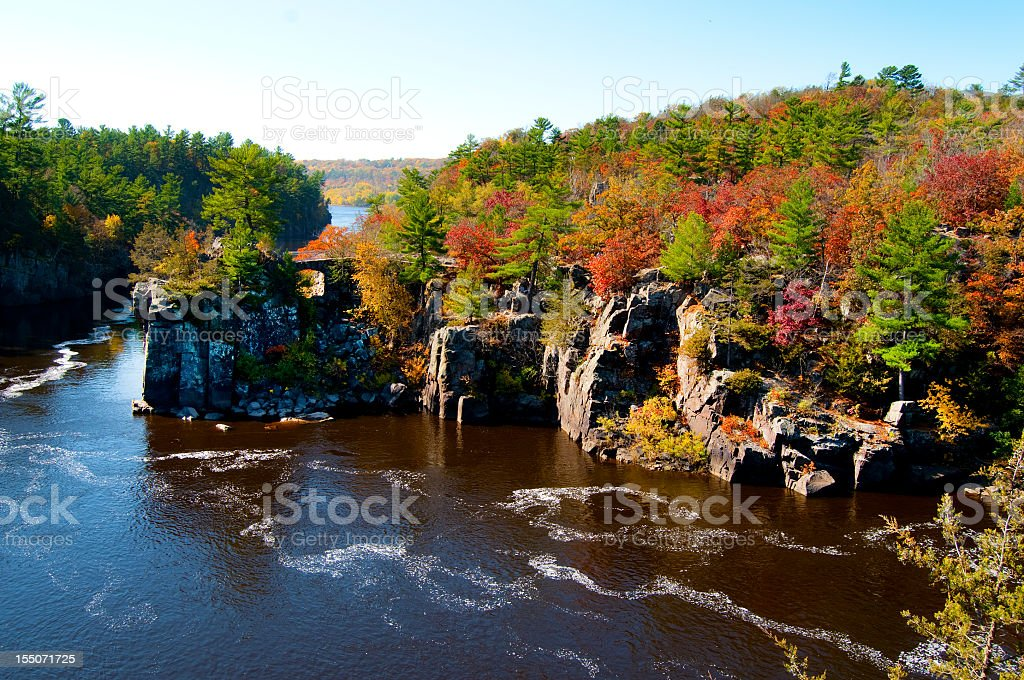 Landscape of the St Croix River in the autumn stock photo