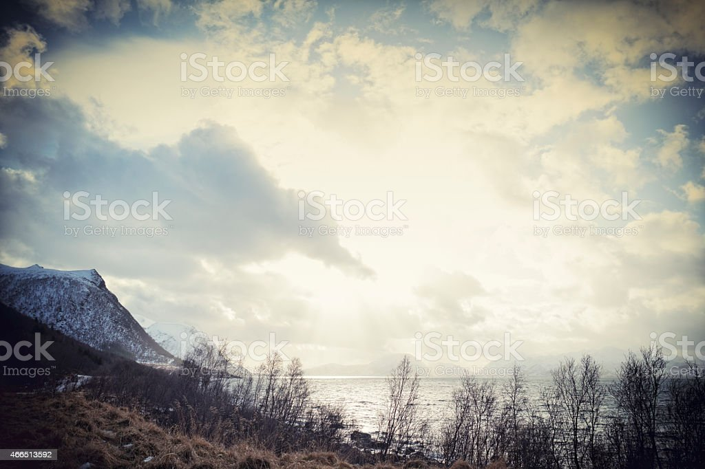 Landscape of the Vesteral Islands near Andenes in Norway stock photo