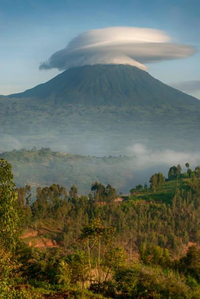 Landscape of the Virunga Mountains in Rwanda stock photo