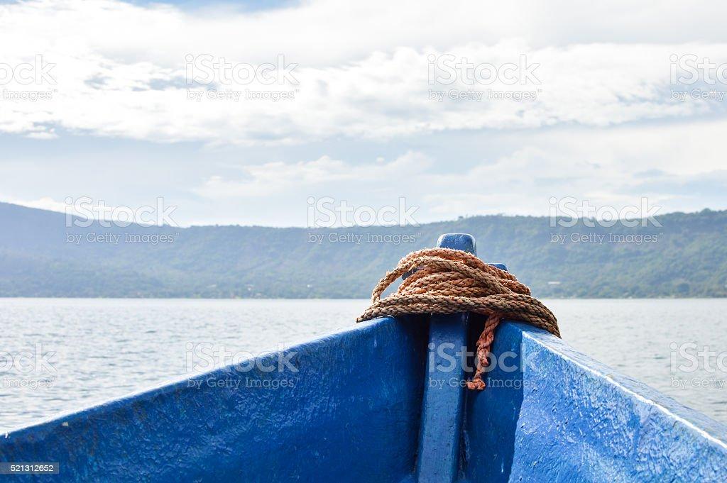 Landscape of the volcanic caldera Lake Coatepeque in El Salvador stock photo