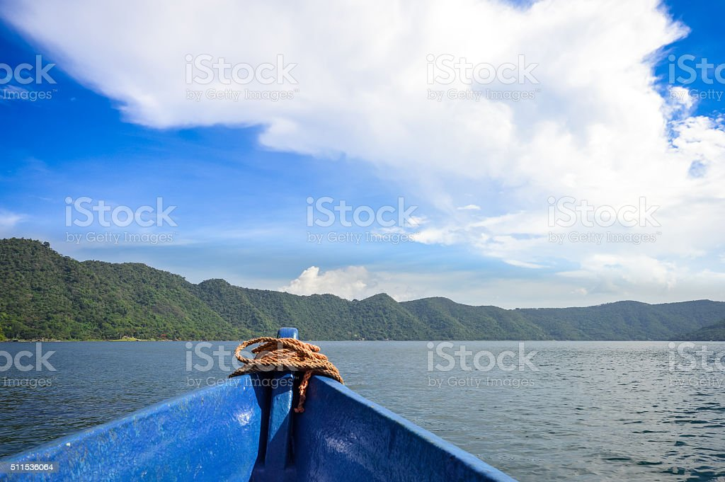 Landscape of the volcanic caldera Lake Coatepeque in Salvador stock photo