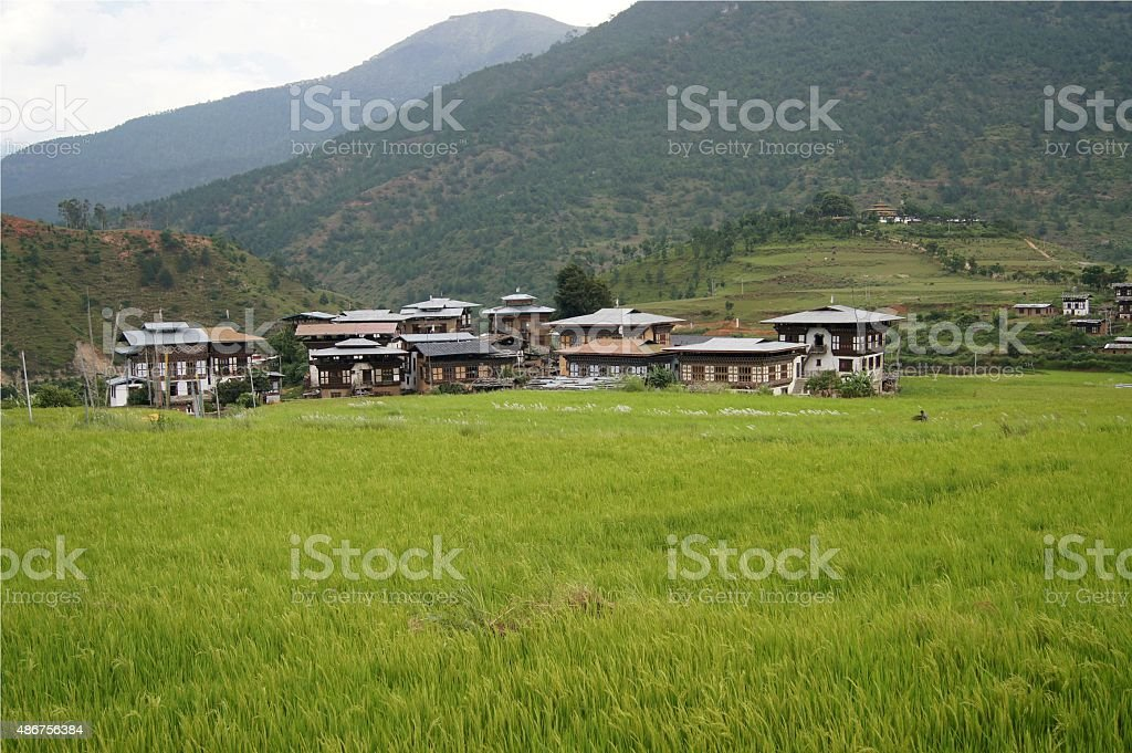 Landscape of Thimphu, Bhutan stock photo