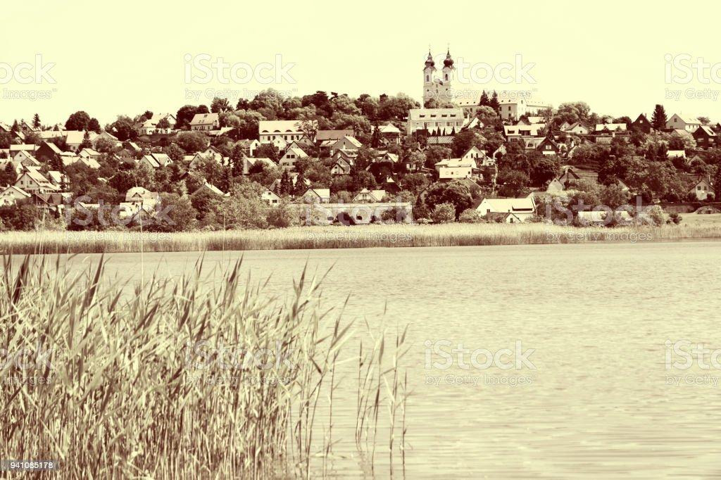 Landscape of Tihany at Lake Balaton , Hungary ( Vintage Style ) stock photo