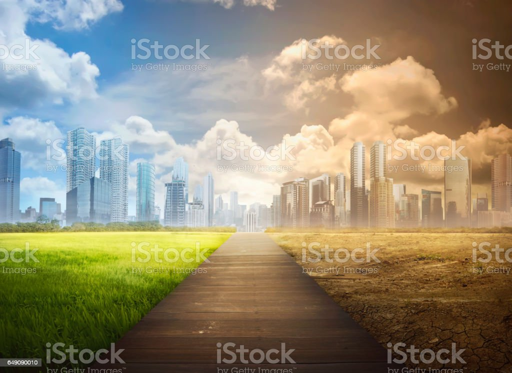 Landscape of timber pathway with the changing environment stock photo