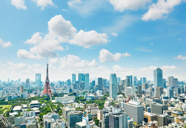 landscape of tokyo city - tokyo japan stock photos and pictures
