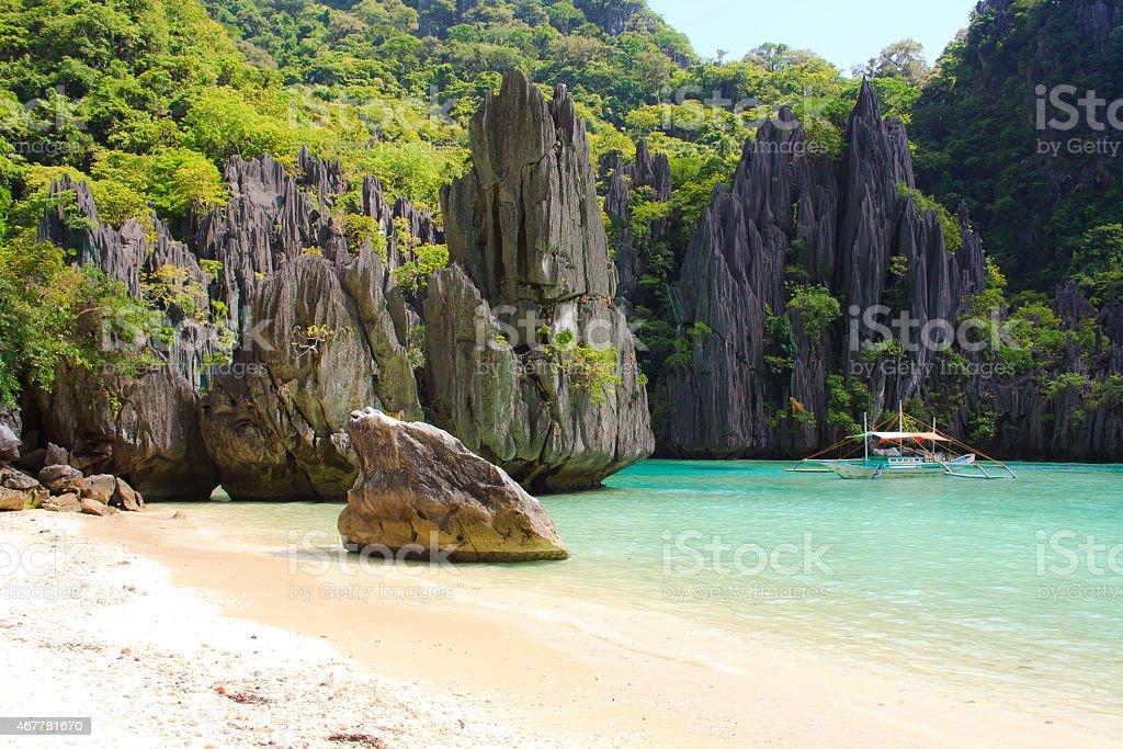 Landscape of tropical island. stock photo