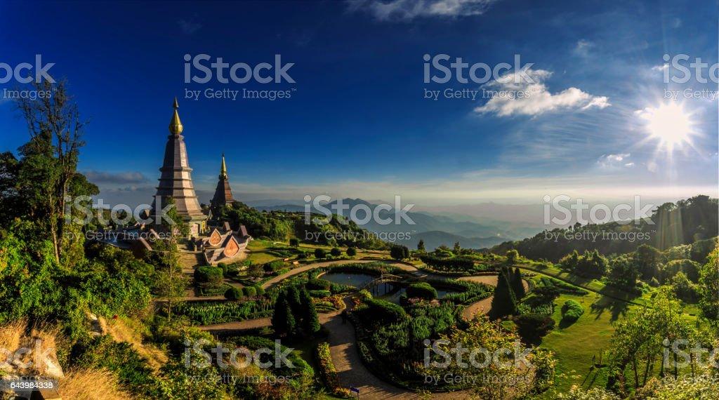 Landscape of twin stupa at Doi Inthanon National Park. stock photo