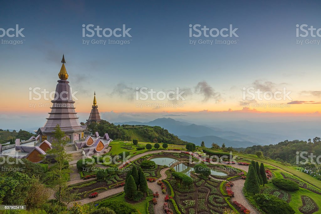 Landscape  of two pagoda  in an Inthanon mountain, chiang mai, stock photo