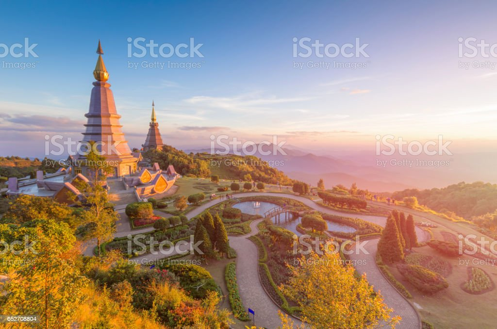 Landscape of two pagoda (noppha methanidon-noppha phon phum siri stupa) in an Inthanon mountain, chiang mai, Thailand stock photo