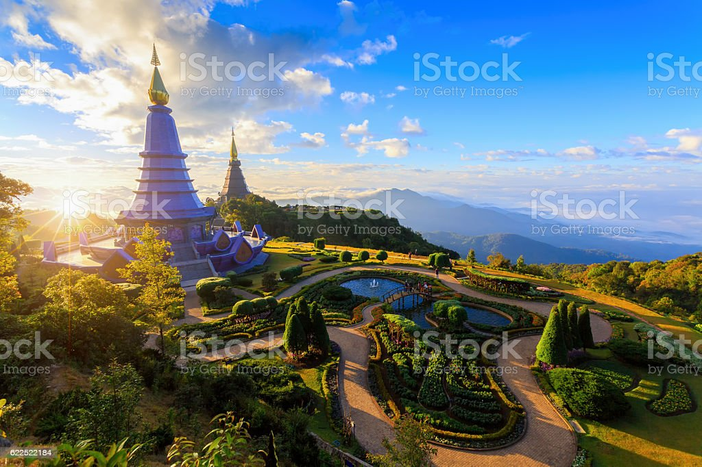 Landscape of two pagoda (noppha methanidon-noppha stock photo