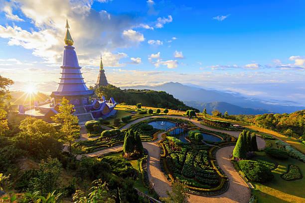 Landscape of two pagoda (noppha methanidon-noppha stock photo