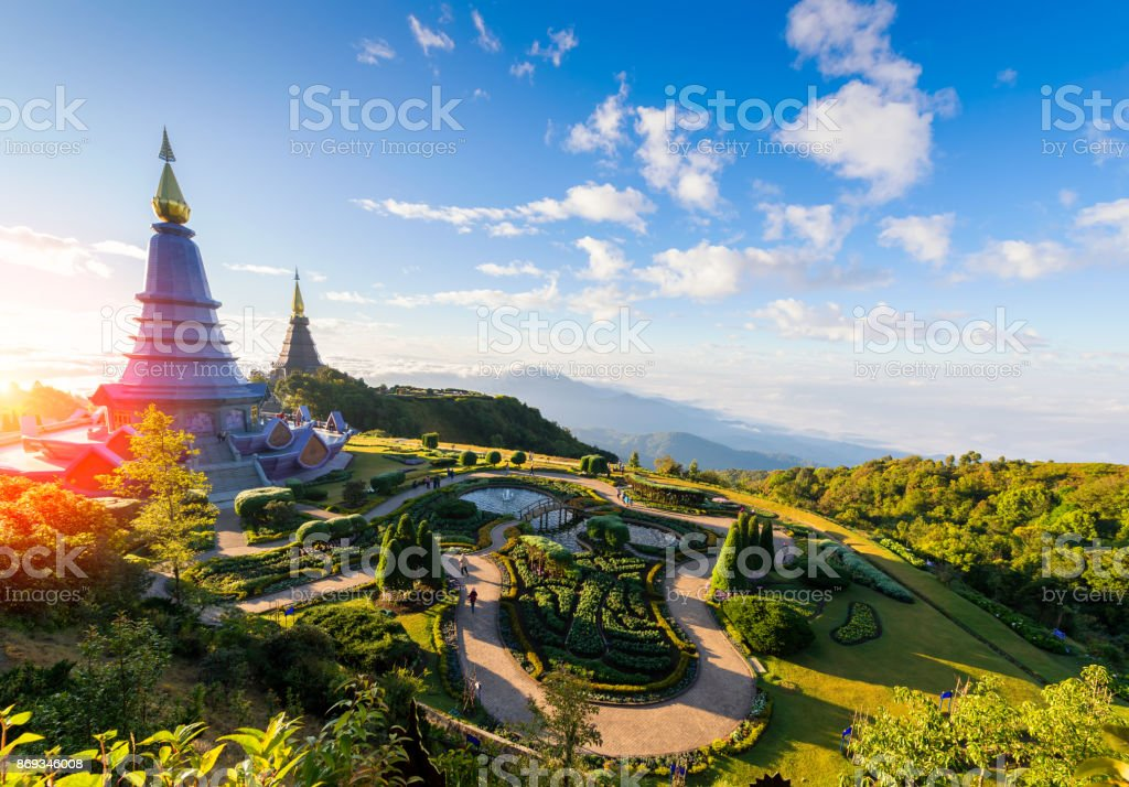 Landscape of two pagoda on the top of Inthanon mountain, Chiang Mai, Thailand. stock photo