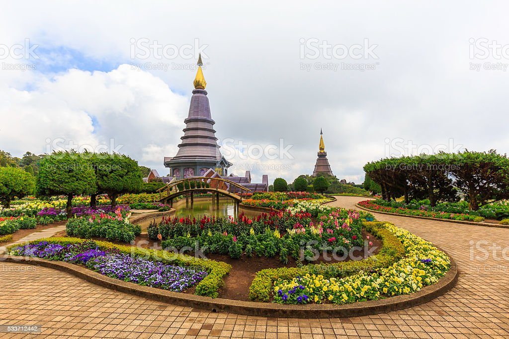 Landscape of two pagoda on the top of Inthanon mountain stock photo
