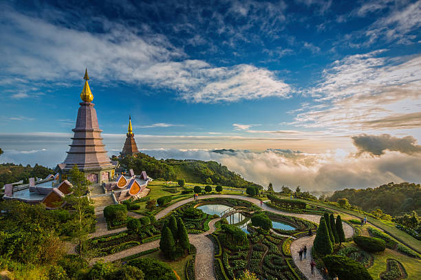 Landscape of two pagoda on the top of Inthanon mountain Landscape of two pagoda on the top of Inthanon mountain, Chiang Mai, Thailand. chiang mai province stock pictures, royalty-free photos & images