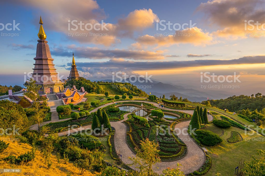 Landscape of two pagodas in an Inthanon mountain, Thailand. stock photo