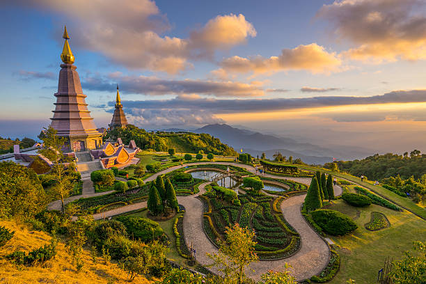 Landscape of two pagodas in an Inthanon mountain, Thailand. Landscape of two pagodas Noppamethanedol & Noppapol Phumsiri in an Inthanon mountain, Thailand. chiang mai province stock pictures, royalty-free photos & images