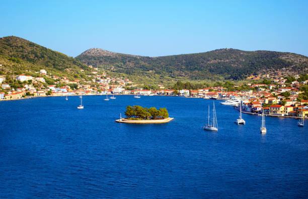 landscape of Vathy Ithaca Greece stock photo