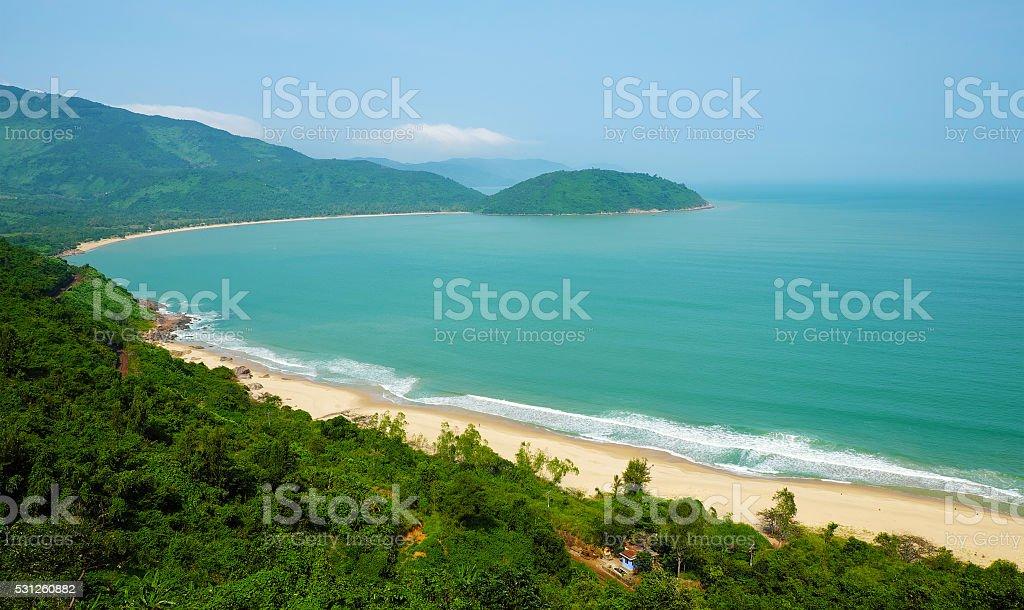 landscape of Vietnam beach, eco green seaside stock photo