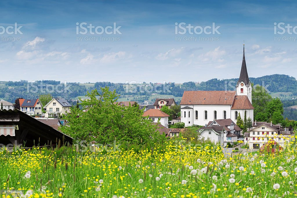 landscape of village in st. gallen stock photo