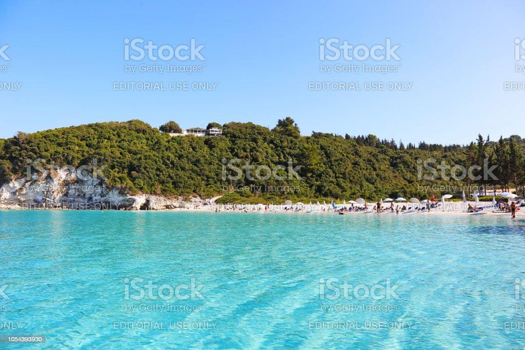 paisagem da praia de Vrika na Grécia Ilhas Jónicas de Antipaxos - foto de acervo