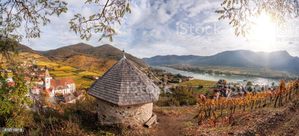 Landscape of Wachau valley, Spitz village with Danube river in Austria. stock photo