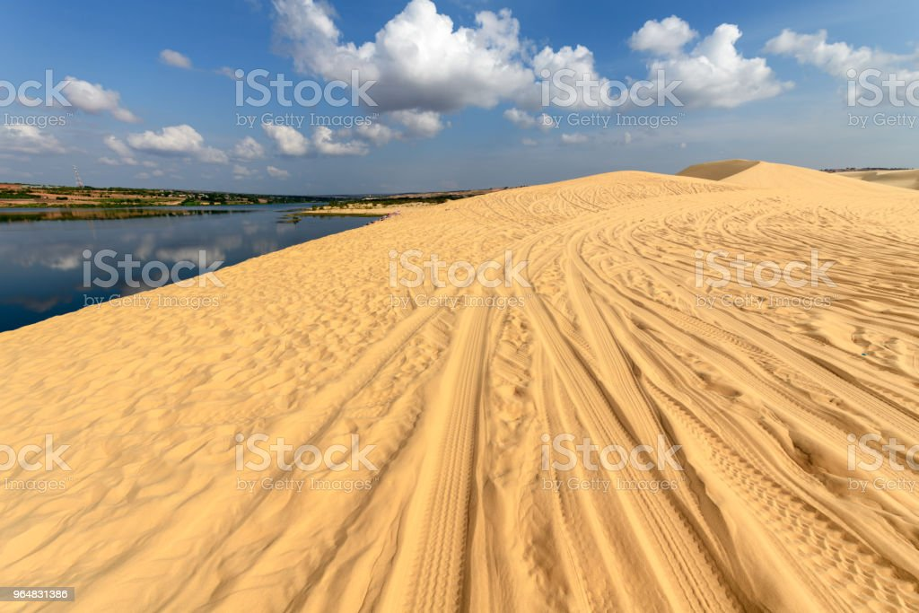 Landscape of White Sand Dunes desert and oasis royalty-free stock photo