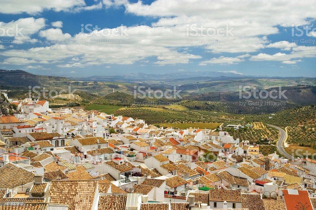 Landscape of white town Setenil de las Bodegas, Andalusia, Spain stock photo