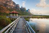 Landscape of wooden bridge and lake in Sam Roi Yod National Park, Prachuap Khiri Khan, Thailand