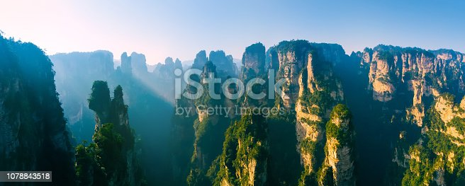 Aerial view Landscape of Zhangjiajie National Forest Park