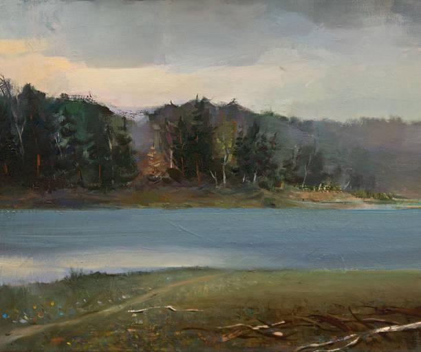 landscape oil painting - yağlı boya resim stok fotoğraflar ve resimler