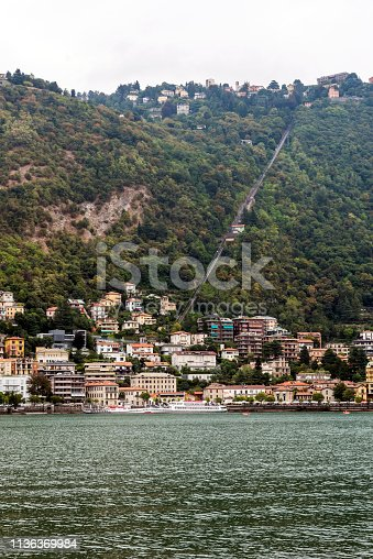 Landscape on Como Lake from shore in Italy.