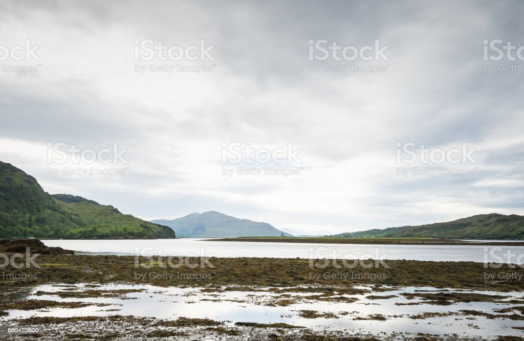 landscape on loch duich close to Dornie and the eilean Donan Castle stock photo