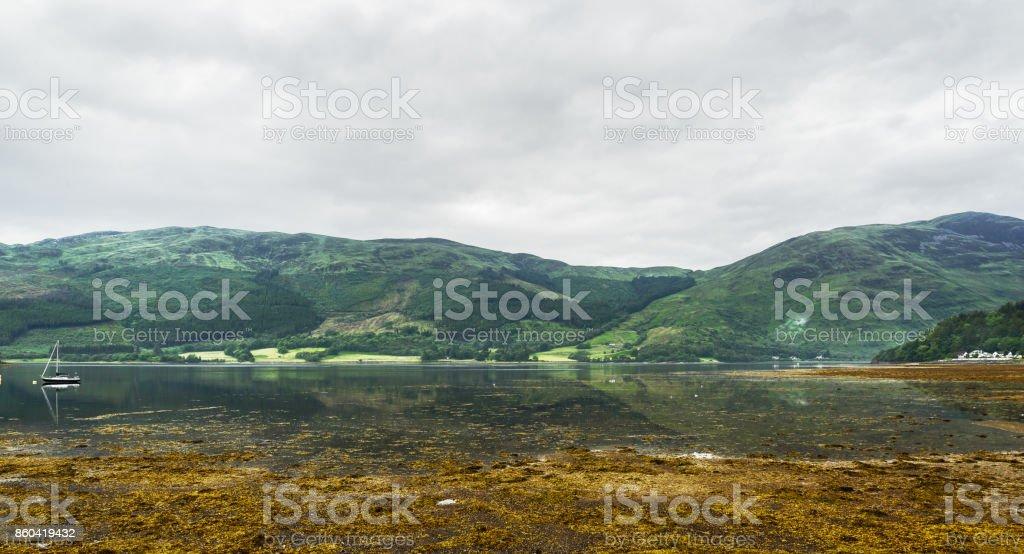 landscape on loch leven nearby Glencoe stock photo