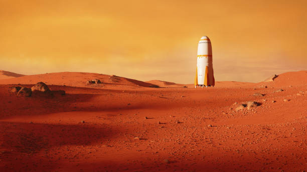 landscape on planet Mars, rocket landing on the red planet stock photo
