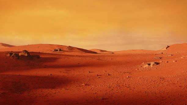 landscape on planet Mars, scenic desert scene on the red planet (3d space illustration) stock photo