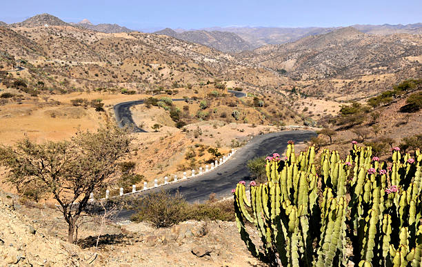 landscape on road from asmara to keren, eritrea - eritrea stock photos and pictures