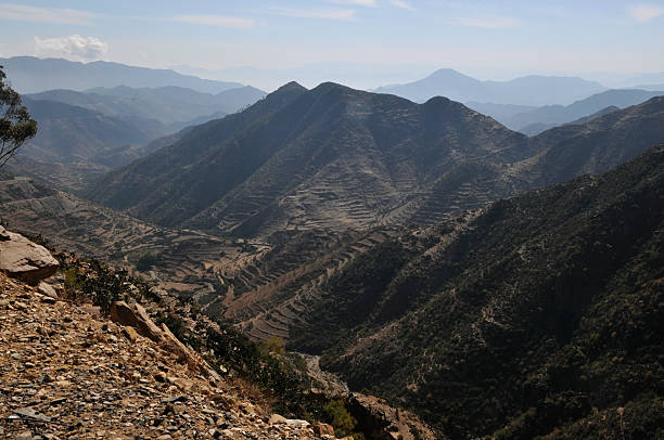 Landscape on road from Asmara to Masawa, Eritrea stock photo